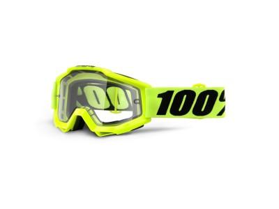 Маска 100% ACCURI Enduro Fluo Yellow Clear Dual Lens